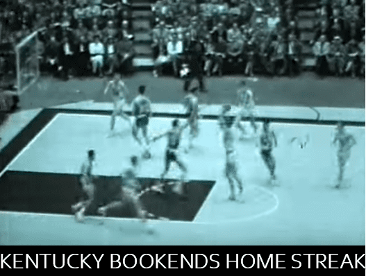 Kentucky won 129-straight home games from 1943 to 1955. This photo is from a game the team played against Idaho during the streak.