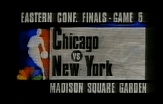 The Chicago Bulls and New York Knicks met in the 1993 Eastern Conference Finals. This is Game 5 from that series, played in Madison Square Garden.
