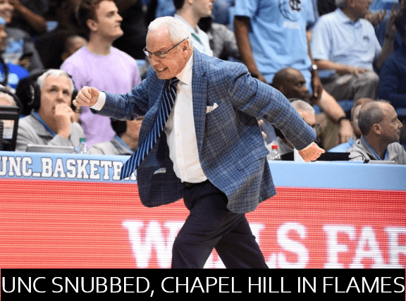UNC basketball fans rioted in Chapel Hill over the weekend to protest North Carolina's exclusion from Reddit March Madness.