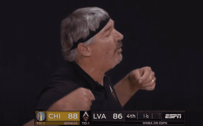Bill Laimbeer wore a headband during his team's opening game of the 2020 WNBA season.