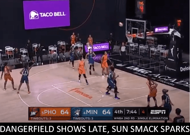 Crystal Dangerfield came up huge at the end of the Lynx-Mercury second round game, and the Sun smashed the Sparks to reach the Semifinals.