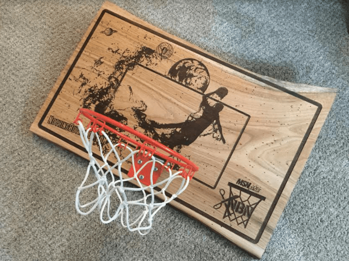 This custom mini hoop comes from MSNLazer and Red Label Sports, including a mini jam spring hoop, mini ball and a door hanging mount from Spalding.