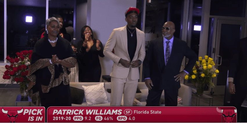 The Chicago Bulls selected Patrick Williams with their No. 4 pick, taking the sixth man from Florida State much sooner than expected.